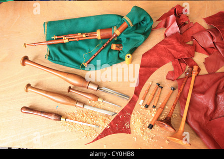 Julian Goodacre Bagpipe maker in Peeples Scotland, all the parts and tools used to make the pipes - Stock Photo