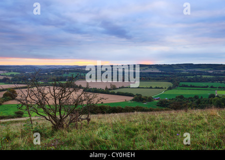 View across the South Downs National Park in Hampshire England, at dawn - Stock Photo