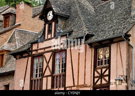 France, St. James Way: Medieval half-timbered houses in historic village Conques - Stock Photo