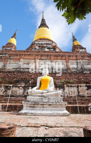 Seated buddha image in wat yai chai mongkol - Stock Photo