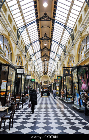 Shoppers in historic Royal Arcade in Melbourne, Australia. Unidentified people. Public place. Editorial use. - Stock Photo