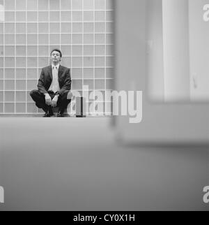 black and white business man frustration stressed businessman License free except ads and outdoor billboards - Stock Photo