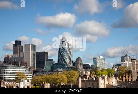 England. London. City skyline with the Gherkin building. - Stock Photo