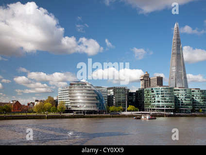 England. London. City Hall with the Shard building by the River Thames. - Stock Photo