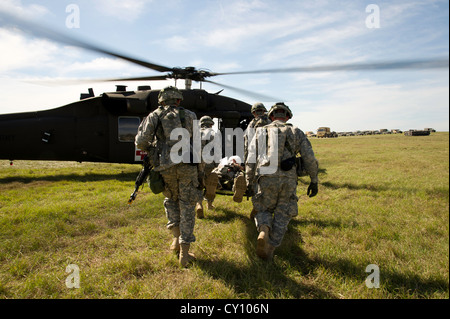 U.S. Army Soldiers load a simulated patient onto a UH-60M Black Hawk helicopter during a field exercise at the Joint - Stock Photo