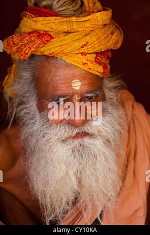 Holy Man in Varanasi, India - Stock Photo
