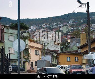Streets in the Tophane district of Bursa Turkey, parts of the city is steep uphil - Stock Photo