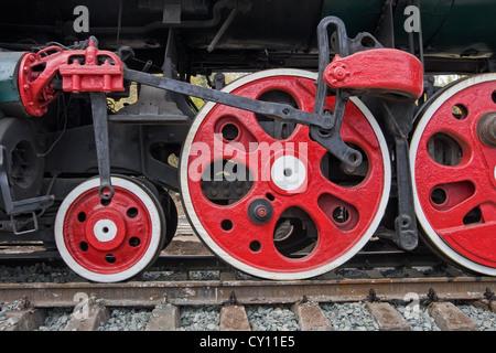 Old steam locomotive wheels - Stock Photo