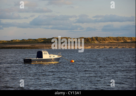 Fishing Boat moored in the Dovey Estuary wider shot - Stock Photo