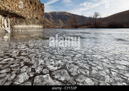 Pancake ice floating on the Yakima River, Yakima, Washington, USA - Stock Photo