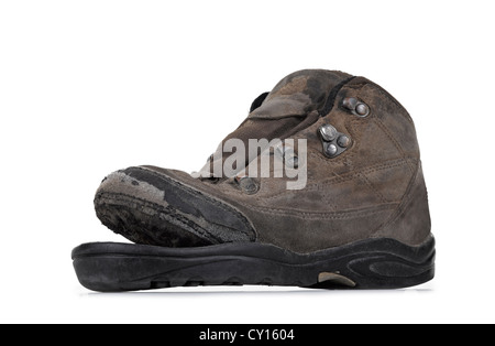 Old boot over white background - Stock Photo