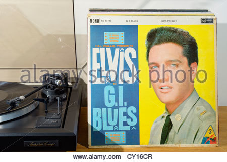 Record player and Elvis Presley album G I Blues, soundtrack from the movie of the same name England - Stock Photo