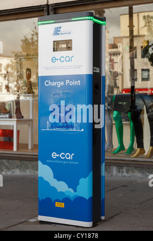 E-car electric car charge point in special parking bays in Irish city centre of Derry County Londonderry Northern - Stock Photo