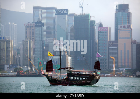 junk in front of Hongkong Island - Stock Photo