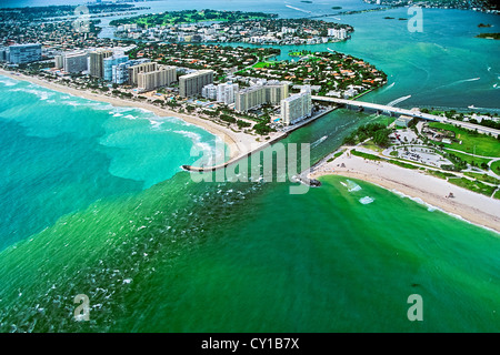 Aerial View of Miami Beach Bal Harbour, Biscayne Bay, Florida, USA - Stock Photo