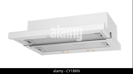 Modern white cooker hood isolated on white - Stock Photo