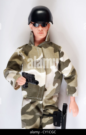 Toy soldier (Action Man replica) - Stock Photo