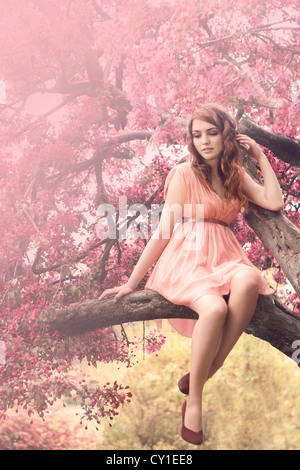 Young woman wearing a pink dress sitting on a branch under pink blossom - Stock Photo