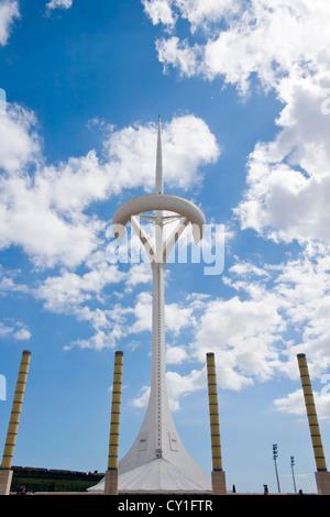 Barcelona, Spain, The Montjuïc Communications Tower, Olympic Park. - Stock Photo