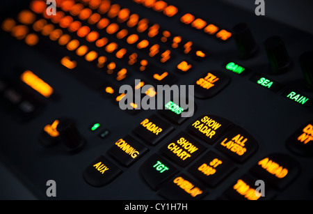 Fragment of illuminated industrial keyboard in the dark. Selective focus - Stock Photo