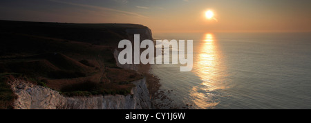 Sunrise over the White Cliffs of Dover; English Channel, Kent County; England; UK - Stock Photo
