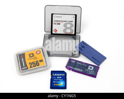 Sony Memory Sticks USB Flash Drive Compact Flash Cards and Secure Digital Memory Card - Stock Photo