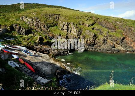 Boats resting on the slipway at Church Cove, Lizard Peninsula, Cornwall - Stock Photo