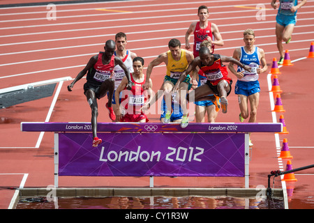 Men's steeplechase competition at the Olympic Summer Games, London 2012 - Stock Photo