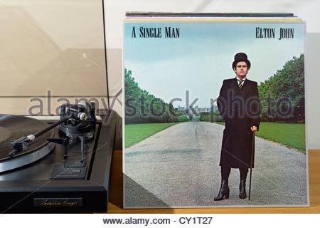 Record player and Elton John album A Single Man, England - Stock Photo