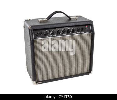 Vintage practice guitar amplifier isolated with clipping path. - Stock Photo