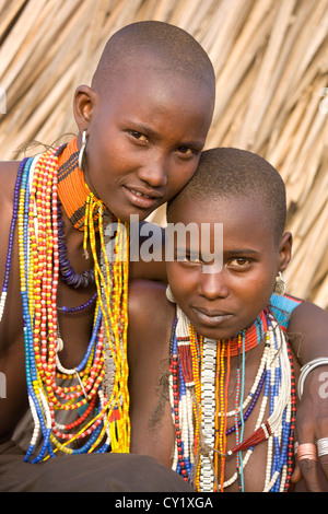 Young girls of the Erbore tribe, Omo River Valley, Ethiopia - Stock Photo