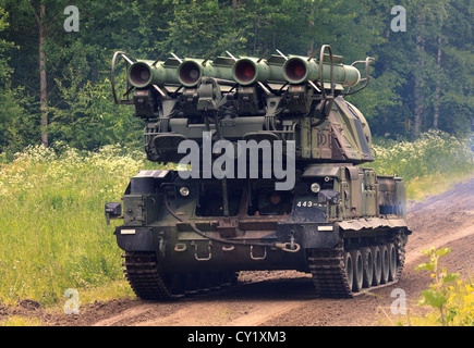 BUK M 1 medium range surface-to-air missile platform unit of the Finnish Army on march. - Stock Photo