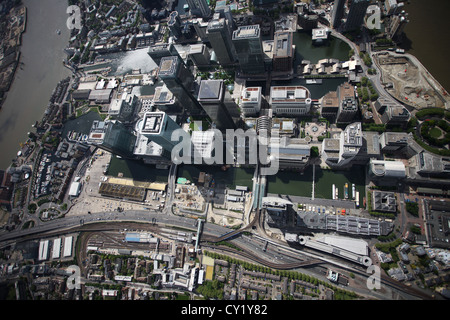 Aerial view of Canary Wharf, London - Stock Photo