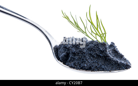 Black Caviar on a Spoon against white background - Stock Photo