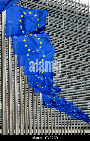 European Union flags outside European Commission building at Berlaymont in Brussels, Belgium - Stock Photo