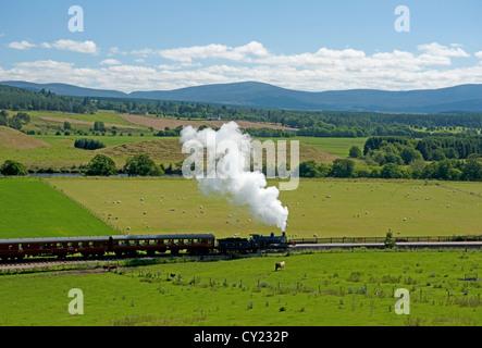 The Strathspey Railway Steam Locomotive 828 at Broomhill Station, Strathspey Inverness-shire.  SCO 8726 - Stock Photo