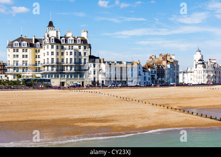 Eastbourne beach and seafront as seen from the pier, East Sussex England UK - Stock Photo