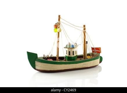old danish model fish boat isolated on white - Stock Photo