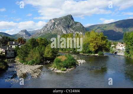 Overview of river and countryside, Tarascon-sur-Ariege, Ariege, Midi-Pyrenees, France - Stock Photo