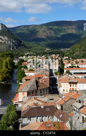 Overview of town, river and countryside, Tarascon-sur-Ariege, Ariege, Midi-Pyrenees, France - Stock Photo