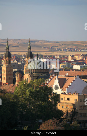 Romania, Sibiu, skyline, aerial view, Orthodox Cathedral, - Stock Photo