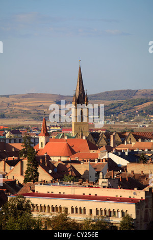 Romania, Sibiu, skyline, aerial view, Evangelical Church, - Stock Photo