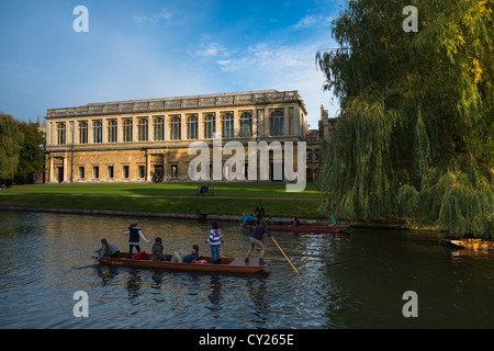 The Wren Library, Trinity College Cambridge, with punting in front on the river Cam, UK. - Stock Photo