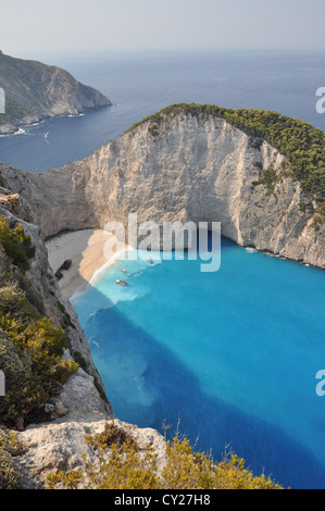A panorama over Shipwreck Bay, Zante (Zakynthos), Ionian Islands, Greece - Stock Photo