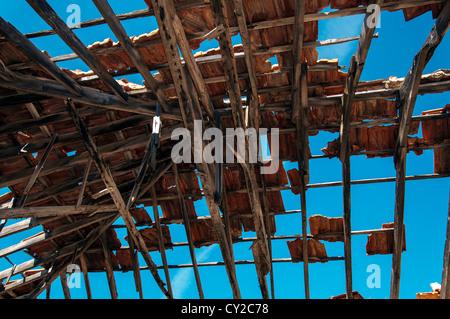 Damaged Roof in Emborio, Halki. - Stock Photo
