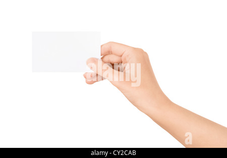 Woman holding blank business card in hand. Isolated on white. - Stock Photo