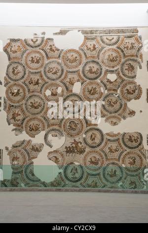 The Triump of Neptune mosaic in the Bardo Museum in Tunis Tunisia - Stock Photo