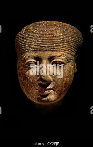 Head of a goddess New Kingdom Ramesside Dynasty 19 reign of Seti I–Ramesses II  295–1270 B.C. 16.2 cm  Egyptian - Stock Photo