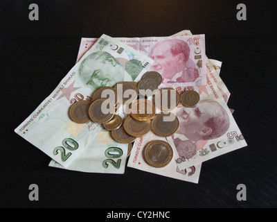 Turkish currency banknotes and coins of different values, lira and kurus - Stock Photo