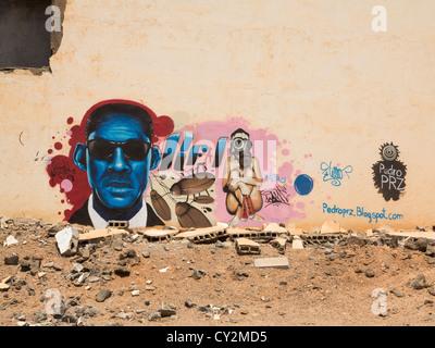 Graffiti on wall of Atlante del Sol derelict hotel, Lanzarote, Canary Islands, example of unchecked development - Stock Photo